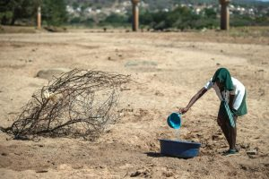 Una niña intenta recoger agua de un charco seco en Nongoma, Sudáfrica. Foto:AFP. Imagen Por: