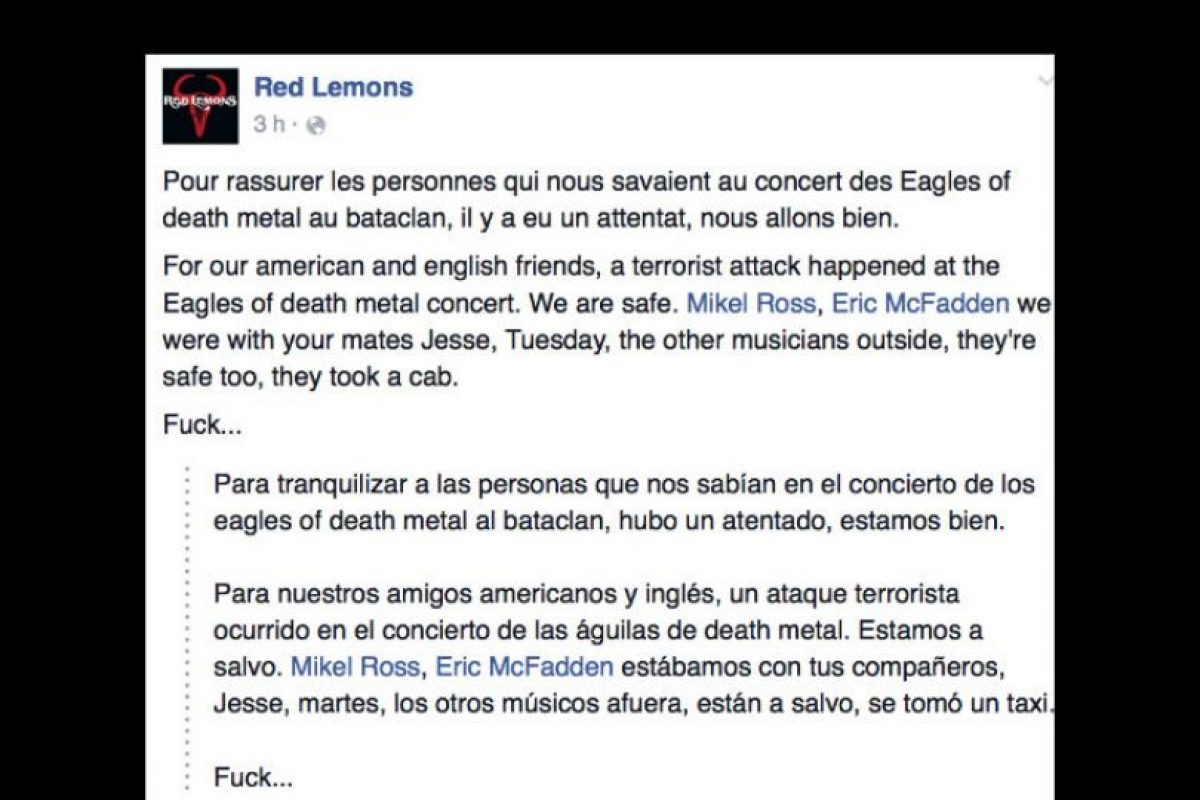 "La banda Red Lemons afirma que la banda ""Eagles of Death Metal"" está segura. Foto: vía Facebook. Imagen Por:"