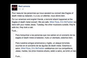 """La banda Red Lemons afirma que la banda """"Eagles of Death Metal"""" está segura. Foto:vía Facebook. Imagen Por:"""