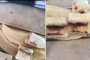3. Plátanos contaminados de sangre con VIH. Amanda Andrys, de Colorado, en Estados Unidos, publicó esta foto en su cuenta de Facebook, mencionando que su plátano tenía sangre contaminada de VIH. Sin embargo, especialistas afirman que se trata de una bacteria llamada Mokillo, la cual ocurre cuando una bacteria entra en una fruta. Además el Centro de Control de Enfermedades en Atlanta subrayó que sería imposible que el virus se mantuviera vivo en estas condiciones, fuera del cuerpo humano. Foto:Vía Facebook. Imagen Por: