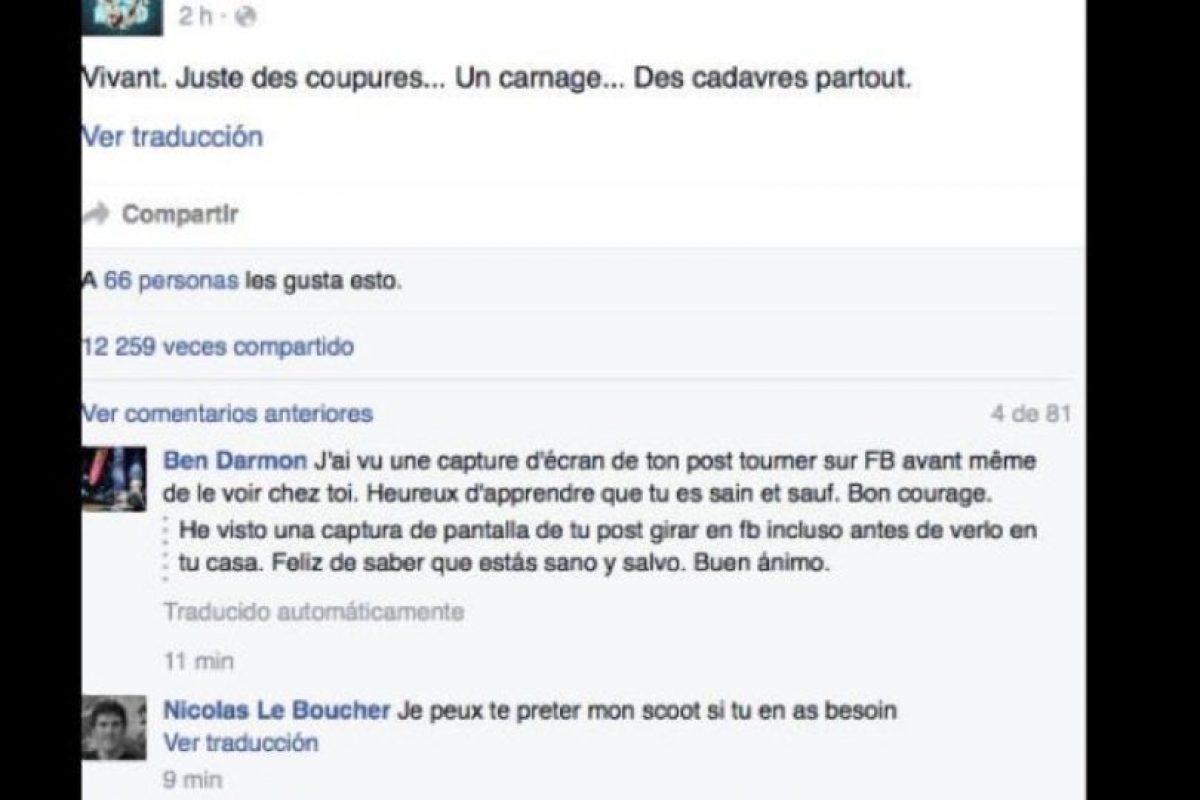 """""""Vivo. Todo es una carnicería"""", afirmó. Foto:vía Facebook/Benjamin Cazenoves. Imagen Por:"""