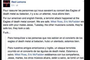 La banda Red Lemons, que tocaba precisamente ese día, afirmó que estaba bien. Foto:vía Facebook. Imagen Por: