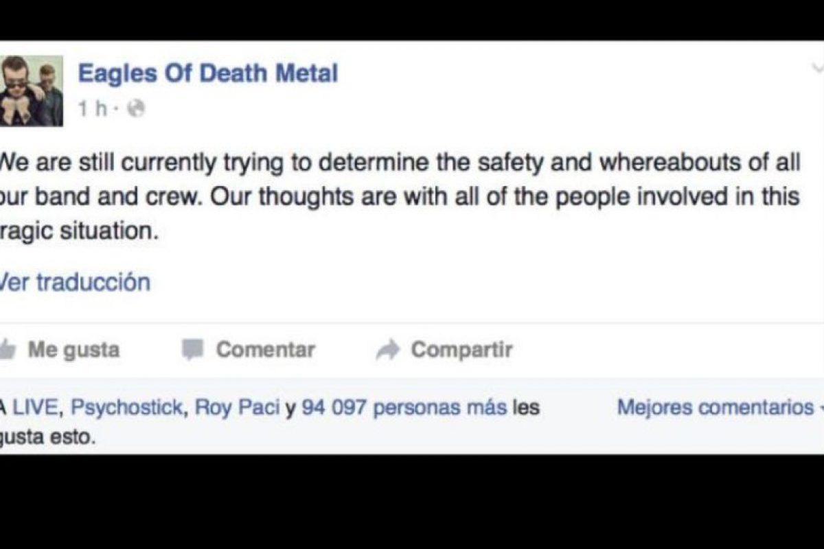 """Hubo preocupación por la banda """"Eagles of Death Metal"""", que preciso se fue a descansar cuando comenzó el tiroteo. Al final confirmaron que estaban bien. Foto:vía Facebook. Imagen Por:"""