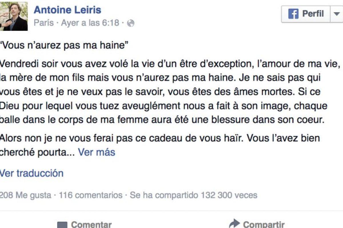 Leiris le prometió al ISIS no hacer a un lado su libertad por el miedo que intenta engendrar en sus compatriotas. Foto:Vía facebook.com/antoine.leiris. Imagen Por: