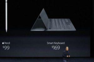 Apple Pencil tiene un costo de 99 dólares, mientras que 169 dólares por el Smart Keyboard. Foto:Apple. Imagen Por: