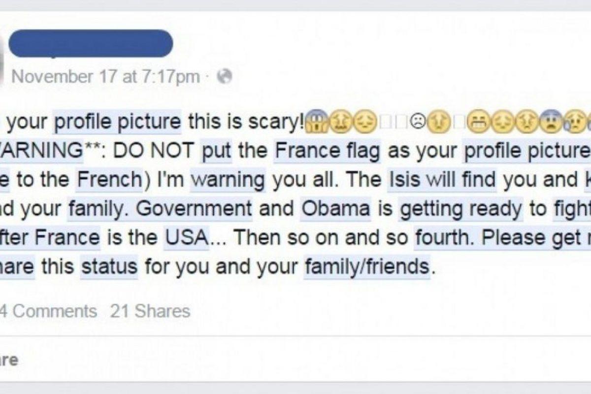 Este estado es el que se viraliza en Facebook advirtiendo que las personas que utilicen el filtro corren peligro.. Imagen Por: