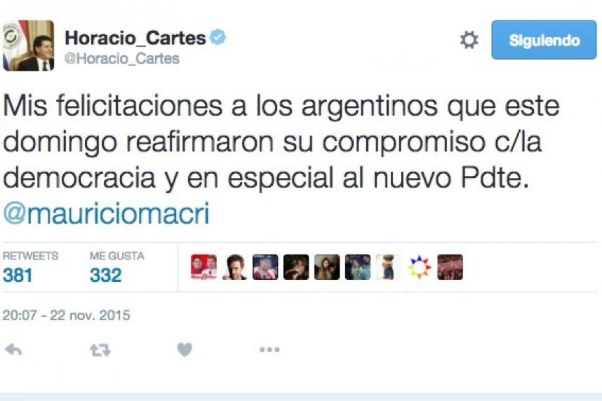 Horacio Cartes, presidente de la República del Paraguay, por el Partido Colorado. Foto:Twitter.com. Imagen Por:
