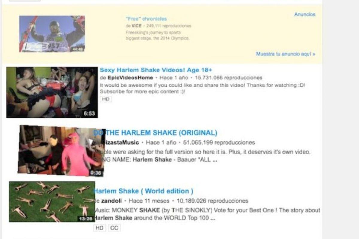 """3- YouTube puede hacerlos reír. Una vez en la página principal, ingresen la búsqueda """"do the Harlem Shake"""" y vean a la plataforma de videos como nunca la habían visto. Foto:Google. Imagen Por:"""