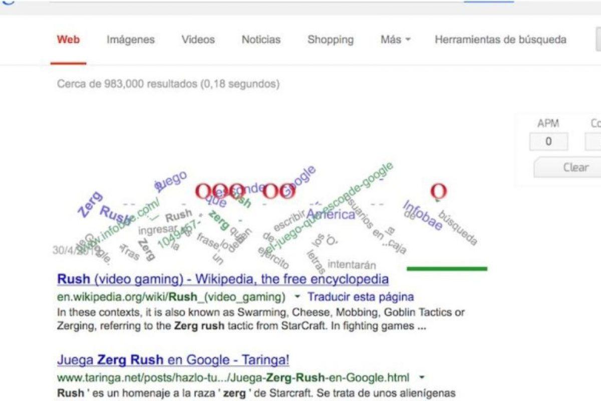 """6- ¿Tienen tiempo para un juego? En Google ingresen """"Zerg rush"""" y diviértanse evitando que los Zergs destruyan las líneas de búsqueda. Foto:Google. Imagen Por:"""