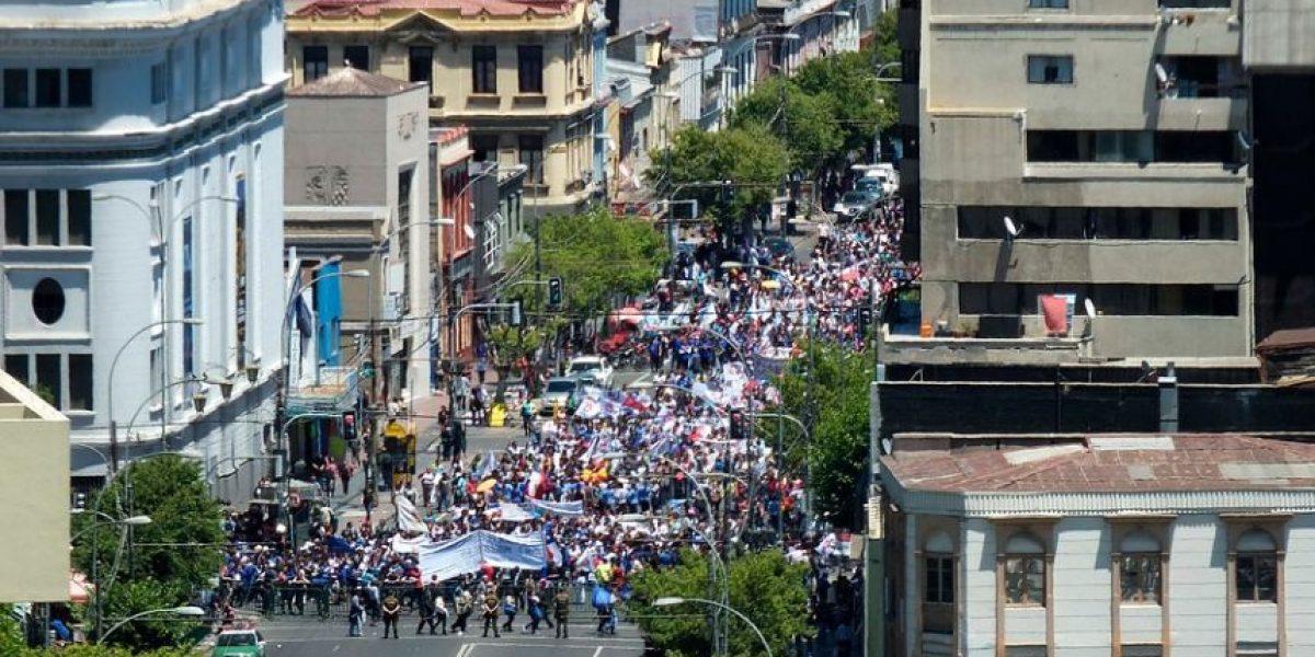 Marcha en Valparaíso marcó segundo día de paralización de funcionarios públicos