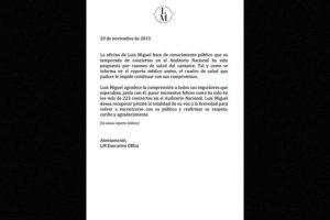 Por lo que las siguientes dos fechas pactadas en el Auditorio Nacional de la Ciudad de México fueron pospuestas. Foto:Facebook/LuisMiguel. Imagen Por: