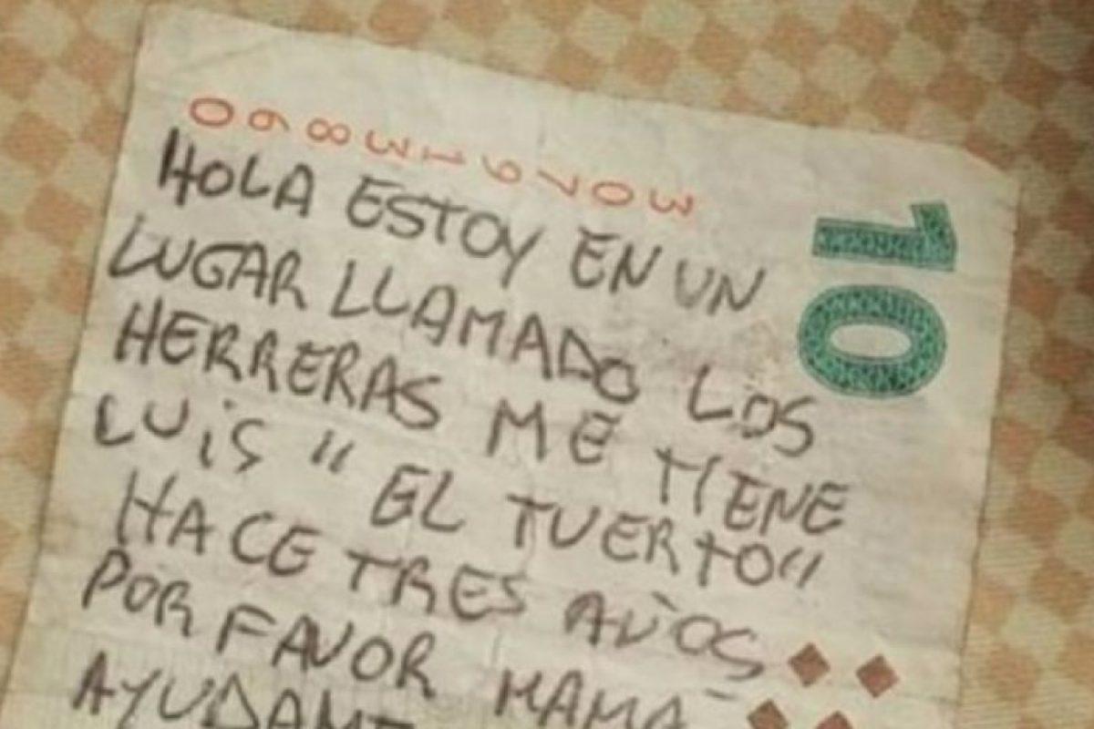 Este es el mensaje que escribieron en el billete. Foto:Vía Twitter. Imagen Por: