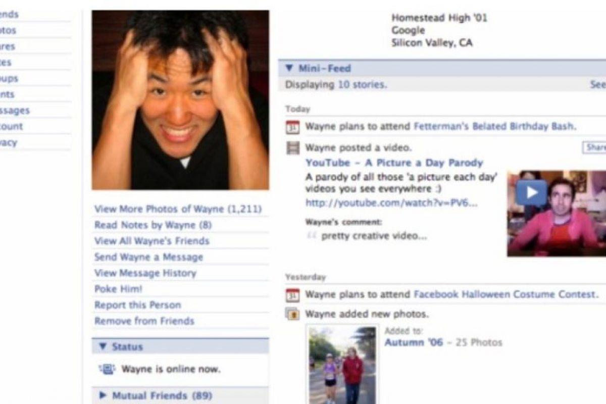 2006. La plataforma ya no recuerda a los usuarios que ese es su perfil. Foto:Facebook. Imagen Por: