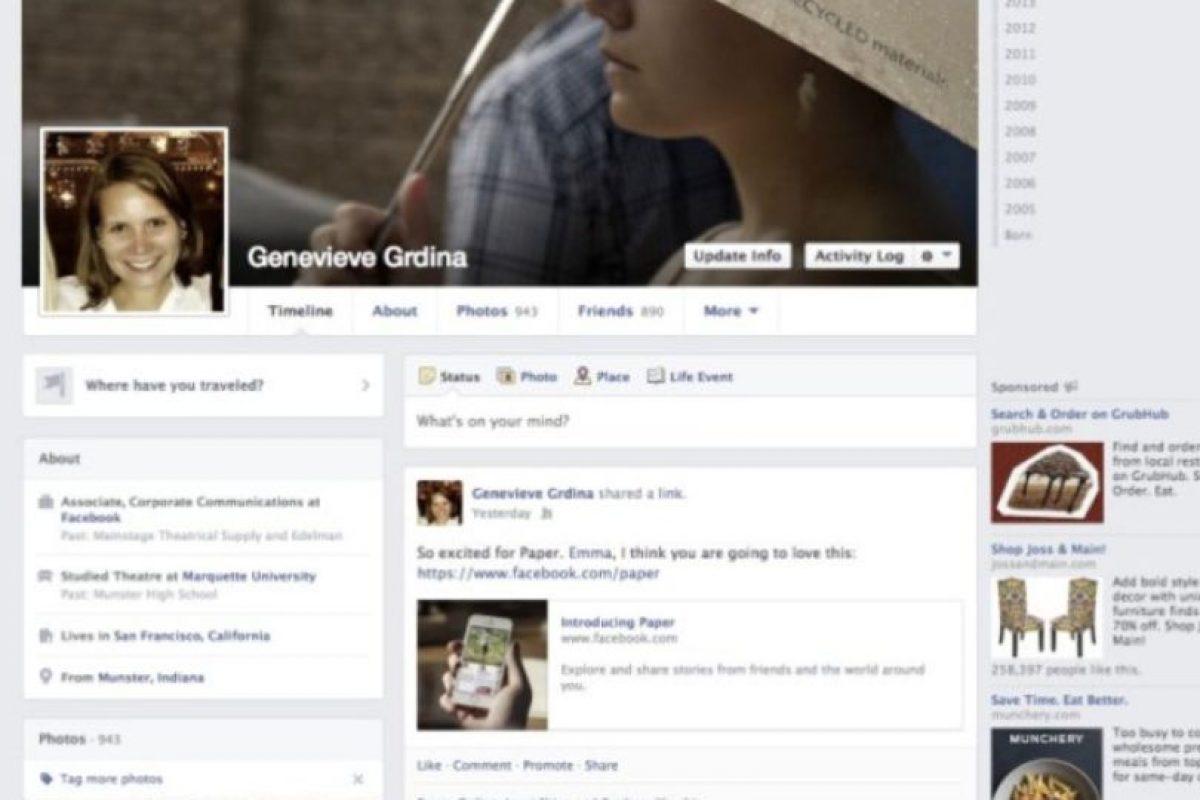 """2013-2014. Facebook introduce una aplicación llamada """"Paper"""" y los colores se vuelven más sutiles. Foto:Facebook. Imagen Por:"""