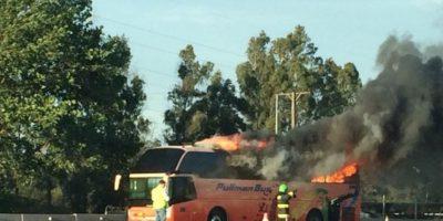 Incendio de bus en la Ruta 68 moviliza a equipos de emergencia