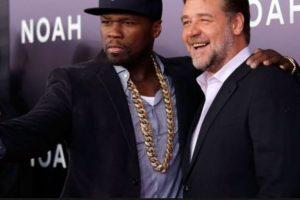 """'50 Cent' y el actor Russell Crowe durante la premiere de """"Noé"""". Foto:Getty Images. Imagen Por:"""