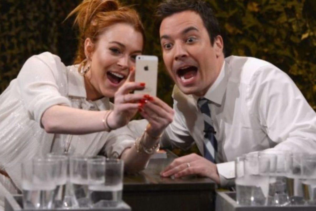 Lindsay Lohan durante su vista al programa Jimmy Fallon. Foto:Getty Images. Imagen Por: