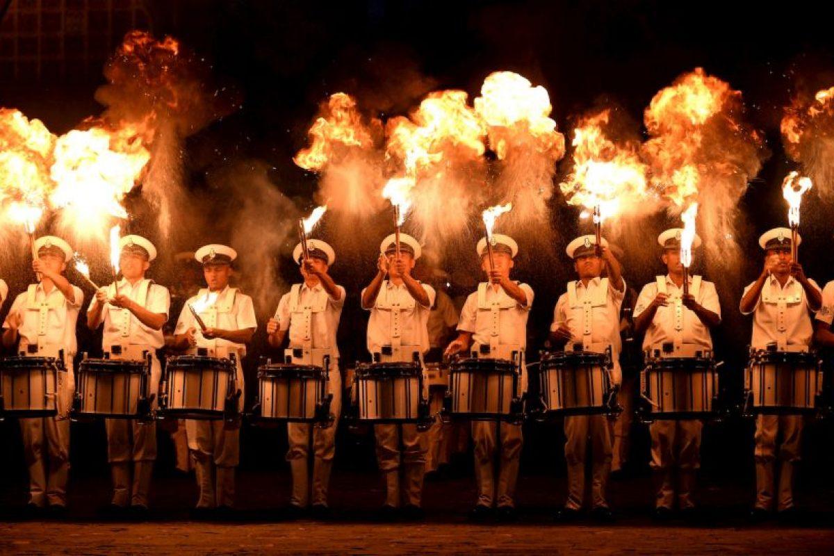Banda naval india practica para las celebraciones del Día de la Marina. Foto:AFP. Imagen Por: