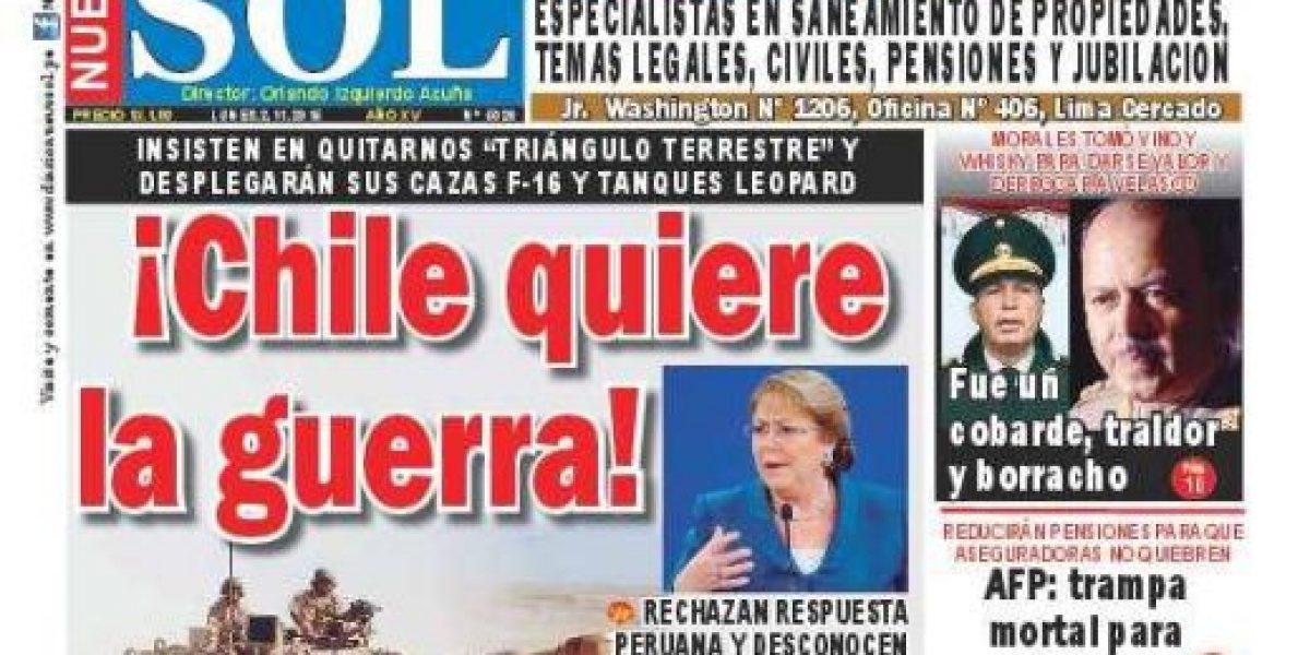 Las inverosímiles portadas de medio peruano contra Chile