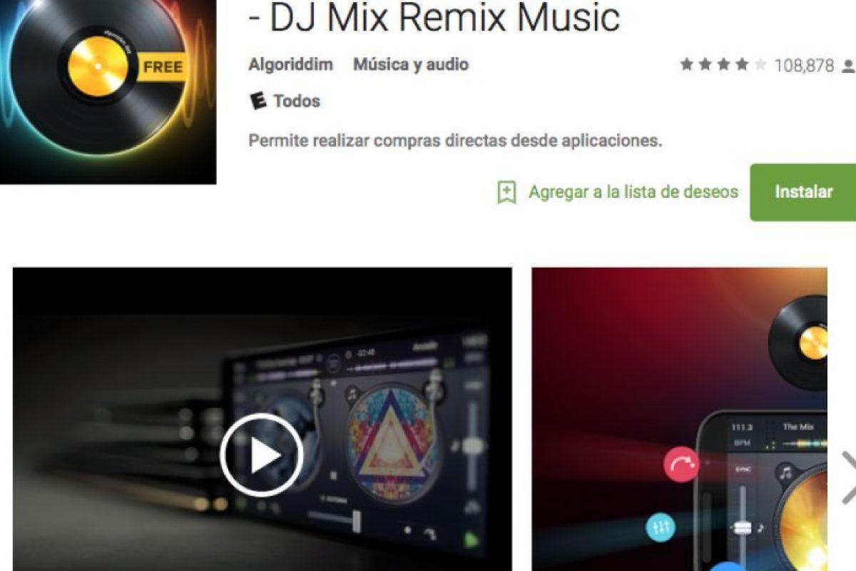 18.- Con DJ Free peudes mezclar música, remezclar tus canciones favoritas de Spotify o tu propia música, hacer grandes mezclas con esta mesa de mezclas de DJ gratuita. Foto:Google Play. Imagen Por: