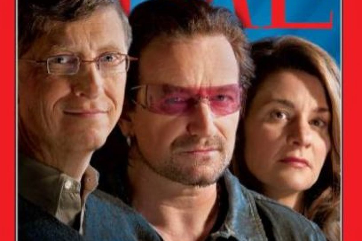 2005: Buenos samaritanos: Bill Gates, Bono y Melinda Gates Foto:Vía Time. Imagen Por: