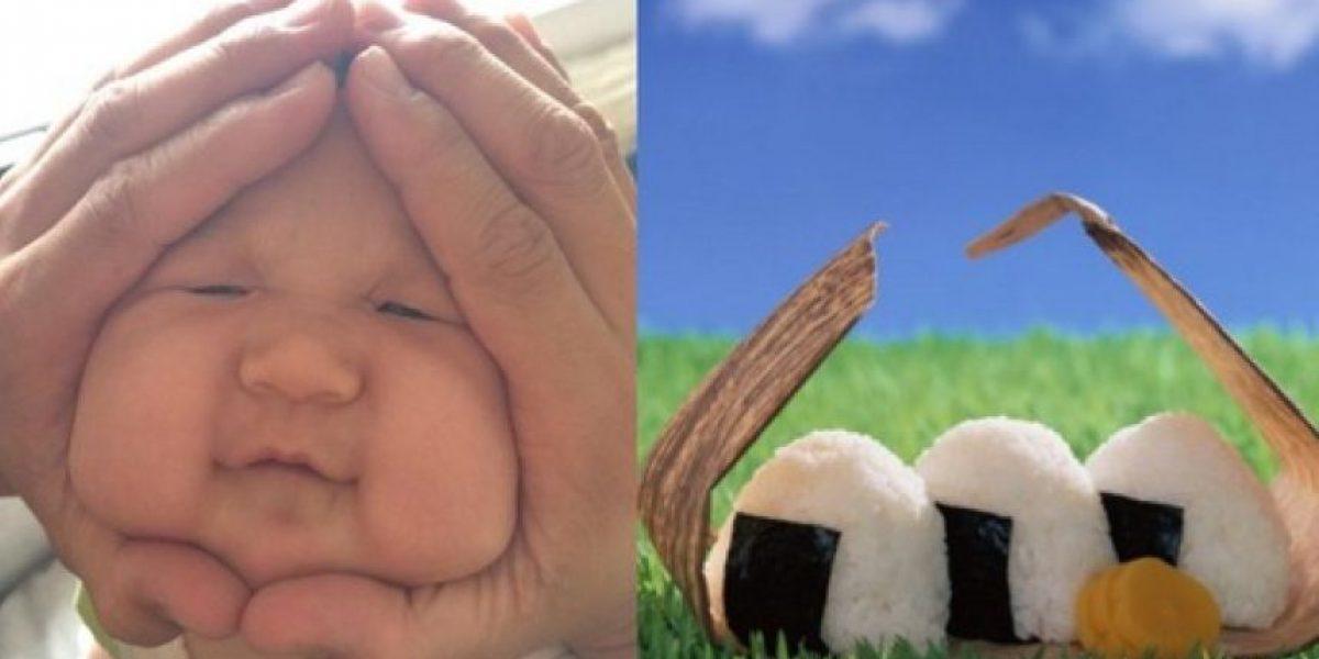 La nueva tendencia en Japón: apretar los cachetes a los bebés para que parezcan bolas de arroz