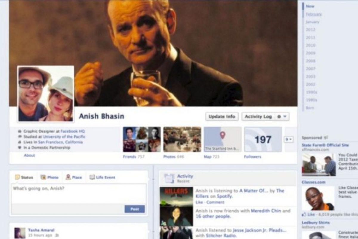 2012. Surge la línea de tiempo o Timeline que le permite conocer su actividad desde su nacimiento hasta la actualidad. Foto:vía Facebook.com. Imagen Por: