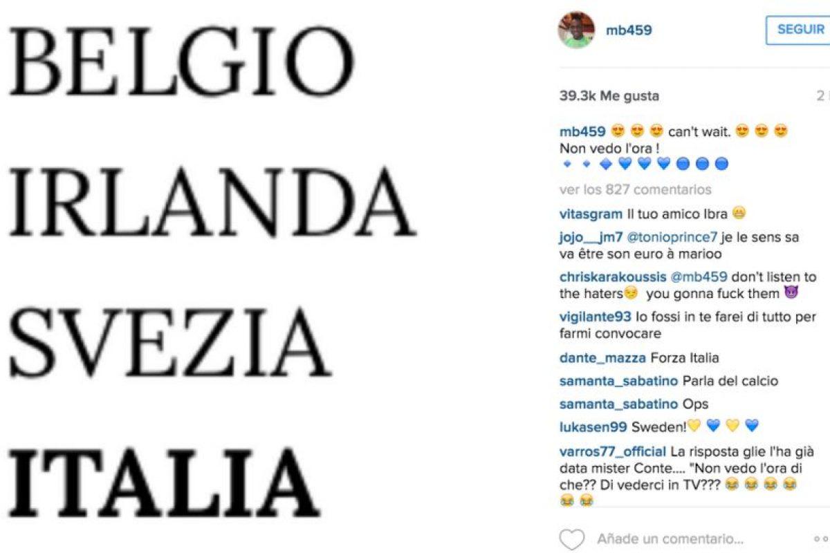 Tras el sorteo de la Eurocopa, Mario Balotelli se mostró emocionado por ir con Italia a esta competencia, pero… Antonio Conte le quitó la ilusión rápidamente. Foto:Vía instagram.com/mb459. Imagen Por: