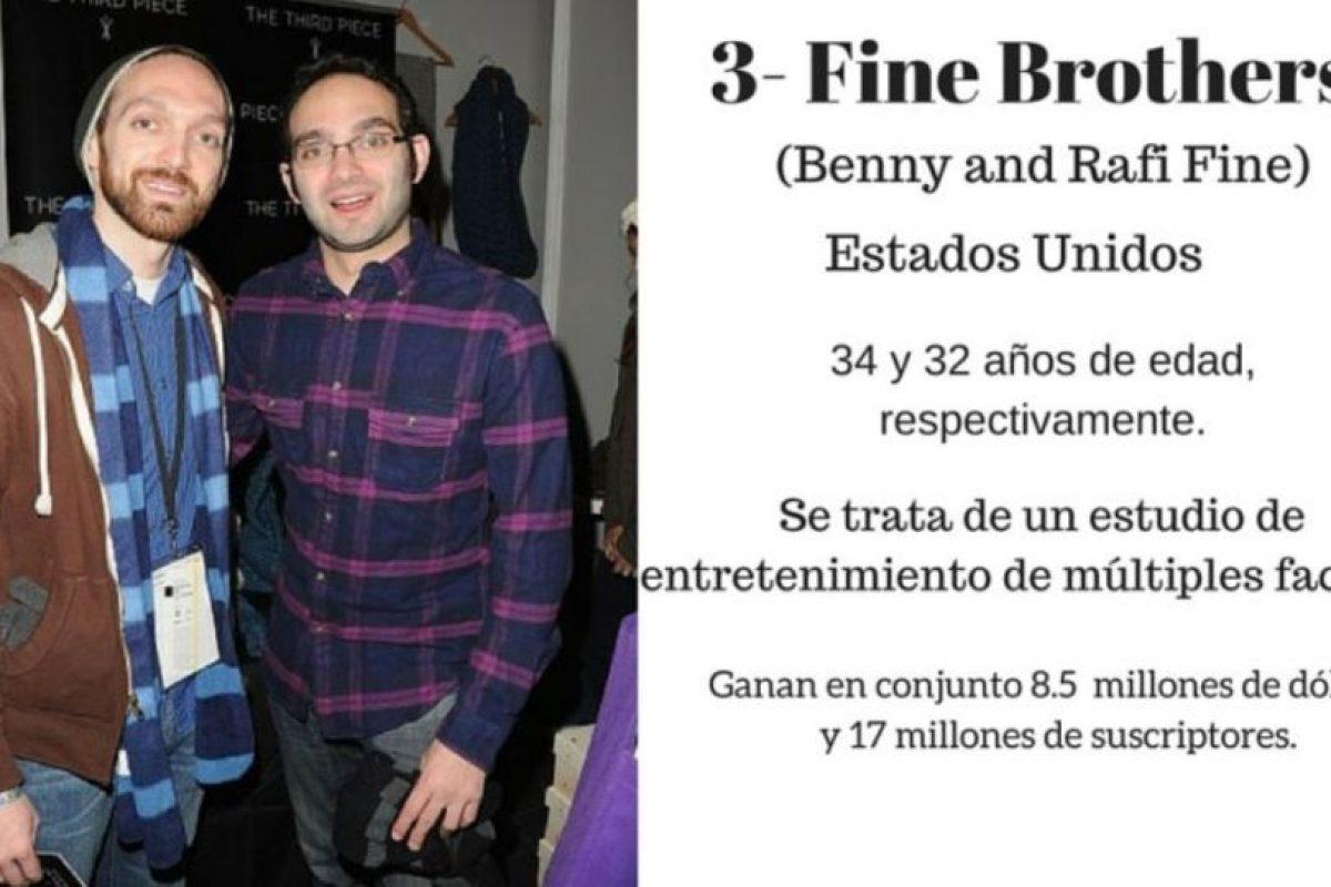 3- Fine Brothers: 8.5 millones de dólares. Foto:Especial / Getty Images. Imagen Por: