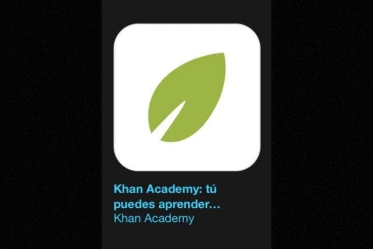 """14- """"Khan Academy: Ustedes pueden aprender cualquier cosa"""". Es gratuita y les permite aprender casi cualquier cosa gratis. Foto:Apple. Imagen Por:"""