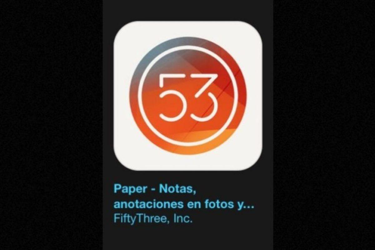 """20- """"Paper"""". Es gratuita y permite capturar y conectar sus notas, fotos y bocetos. Foto:Apple. Imagen Por:"""