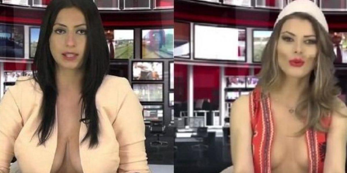 La TV albanesa hace negocio con los escotes de sus presentadoras