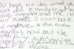 """Esta fue su primera carta: """"Ustedes no tienen idea de lo que hicieron. Realmente todos me decían que Santa eran mis padres pero yo no lo creía"""". Foto:Vía Facebook/nicki.adamsmorton. Imagen Por:"""