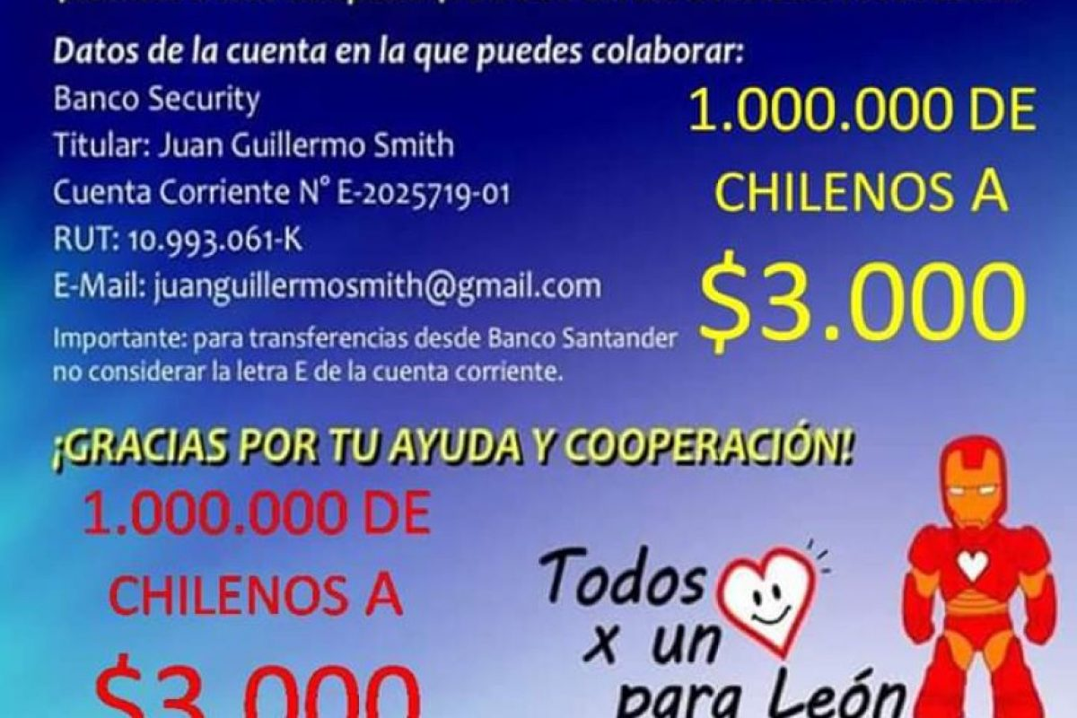 Los datos para aportar con León. Foto:Reproducción / Facebook Juan Guillermo Smith Alarcón. Imagen Por:
