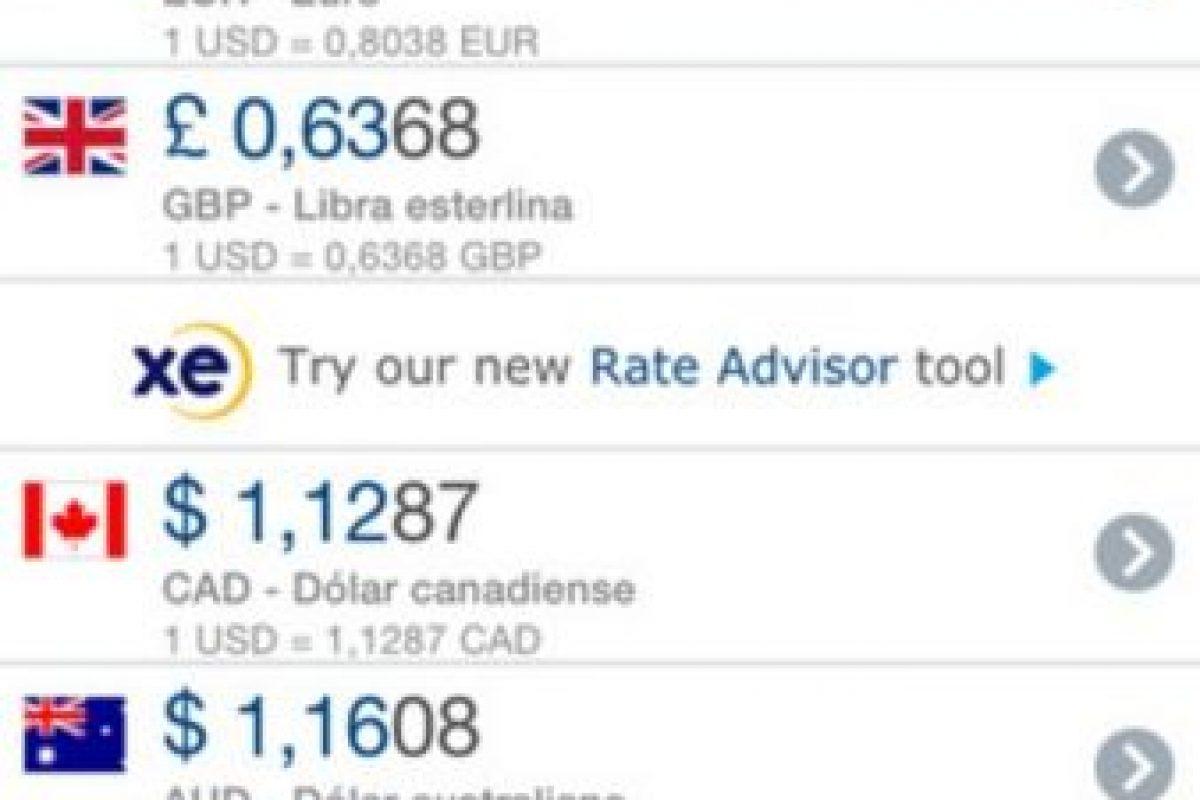Les ayuda a convertir su dinero de manera rápida y sencilla, cuenta con tablas de divisas y almacena los últimos tipos de cambio. Foto:XE.com Inc.. Imagen Por: