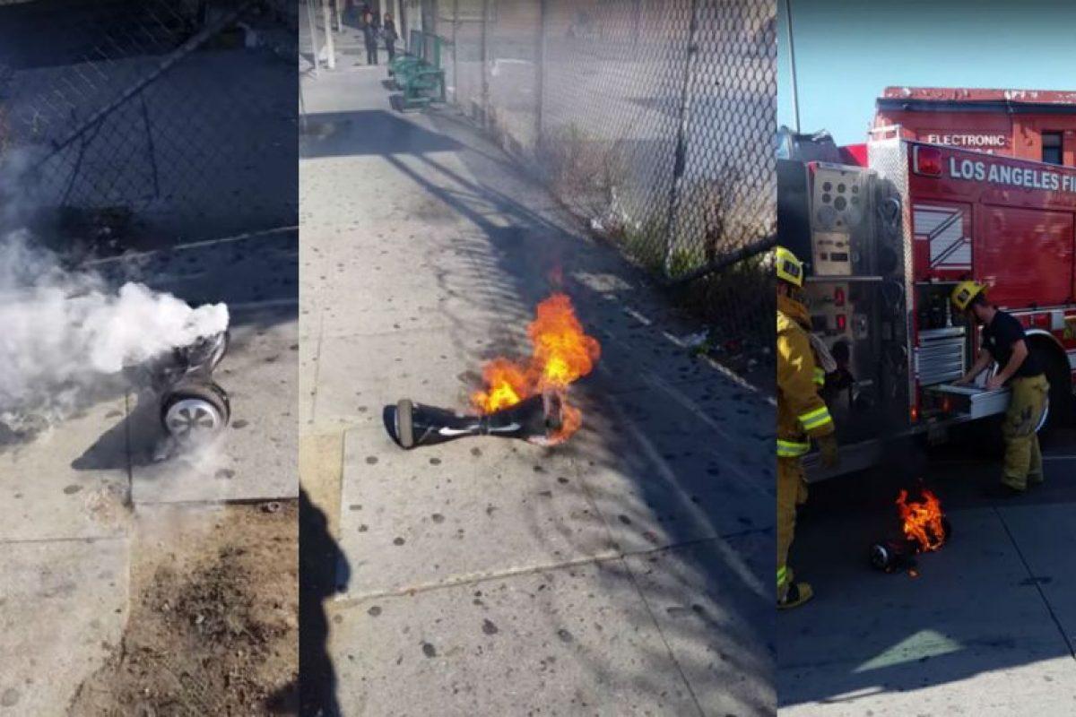 Usuario mostró la forma en que su hoverboard se incendiaba. Foto:vía YouTube.com. Imagen Por: