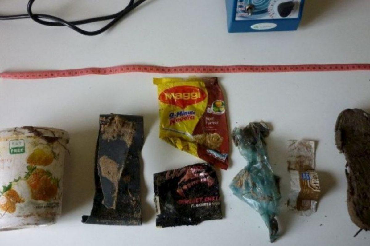 Expertos localizarón recipientes de yogurt, sandalias, envolturas de comida y otros desechos plásticos dentro de su estómago Foto:Vía facebook.com/OrcaPlett. Imagen Por:
