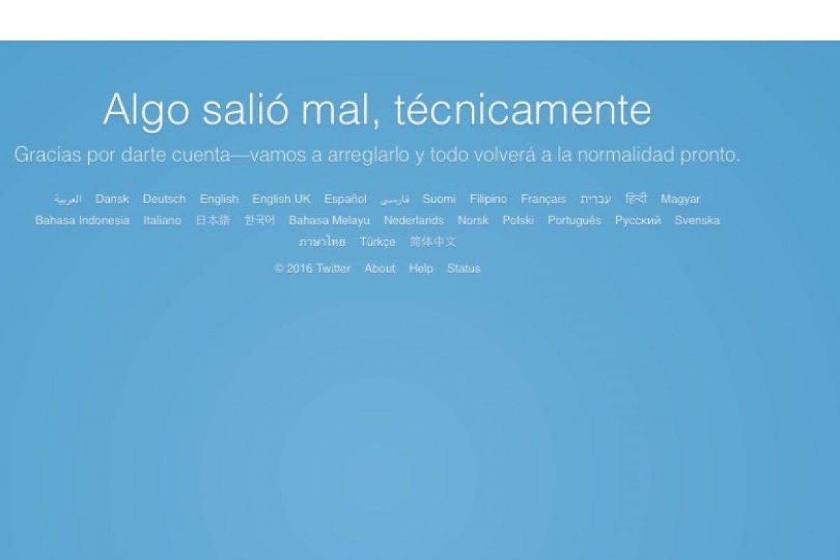 El mensaje de error Foto:Reproducción / Twitter. Imagen Por: