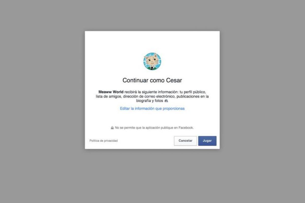 """Aceptan compartir su información cuando dan clic en """"Jugar"""". Foto:vía es.meaww.com. Imagen Por:"""