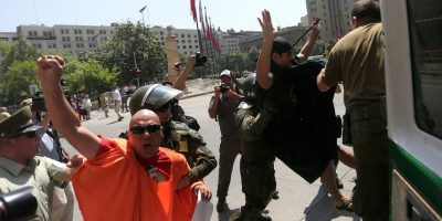 Manifestantes se reunieron para protestar por la visita del presidente turco a Chile
