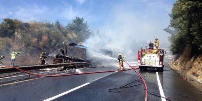 Choque entre camiones provocó incencio forestal en la Ruta del Itata