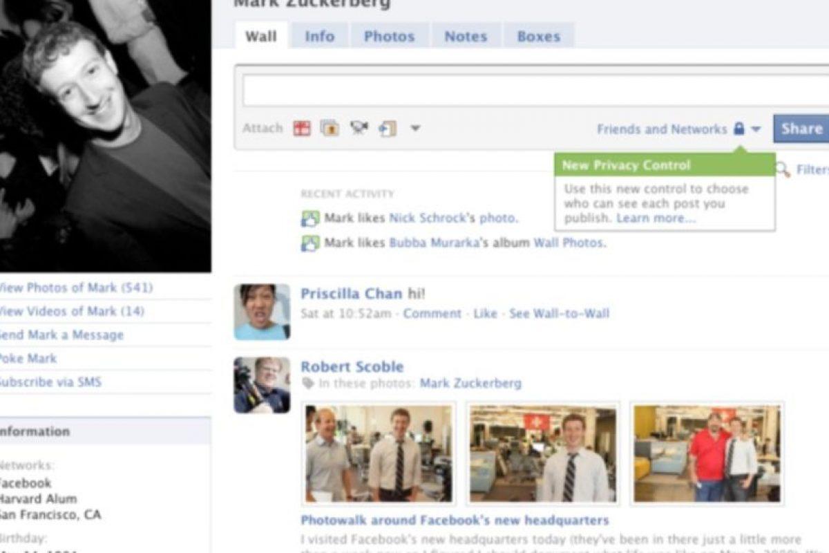 2009. Las configuraciones de privacidad llegaron para quedarse. Foto:Vía Facebook. Imagen Por: