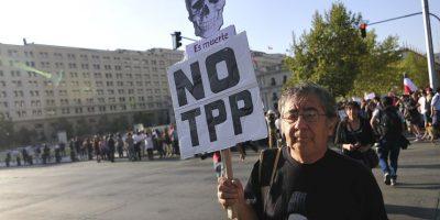 Agrupaciones protestaron contra el TPP frente al Palacio de La Moneda