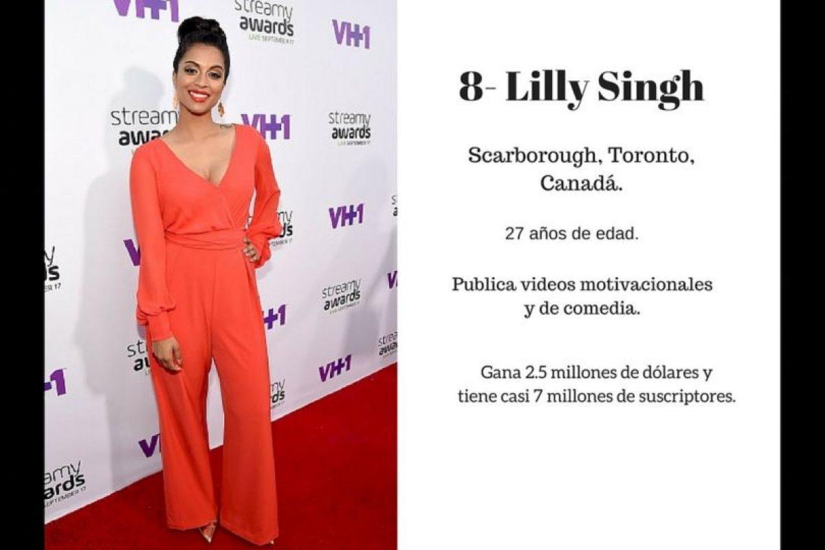 8- Lilly Singh: 2.5 millones de dólares. Foto:Especial / Getty Images. Imagen Por: