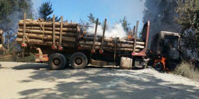 Arauco: nuevo ataque incendiario a dos camiones forestales