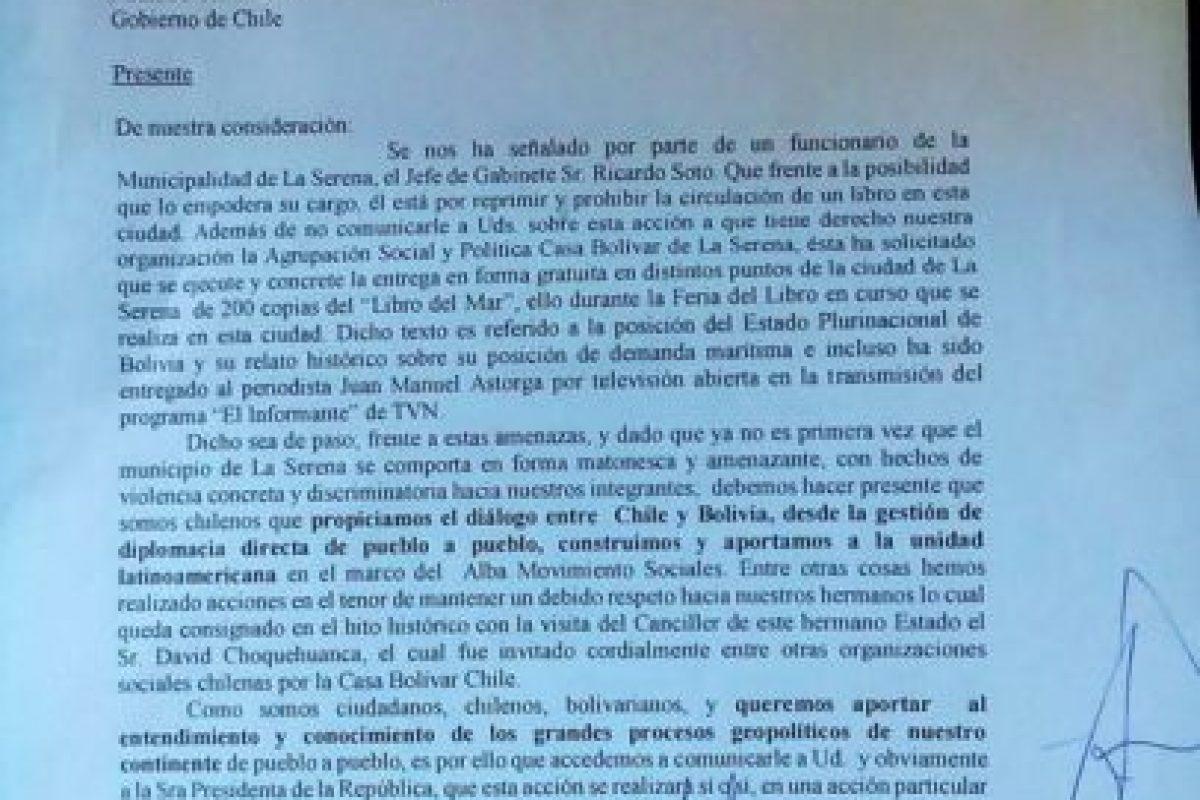 La carta enviada al ministro del Interior. Foto:Reproducción / Facebook Alfonso Ossandón Antiquera
