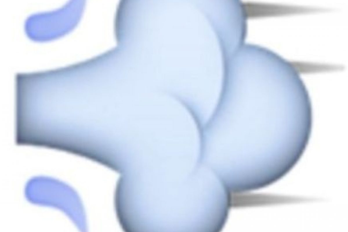 3- Usado para representar fratulencias, en realidad es una ráfaga de aire que representa el movimiento rápido de una persona o un objeto. Foto:Vía emojipedia.org. Imagen Por: