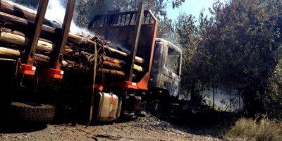 Ataque incendiario en Ercilla deja dos camiones destruidos