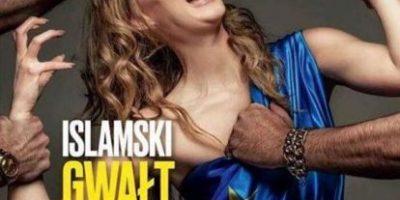 Indignación suscita portada de revista que muestra a mujer europea manoseada por inmigrantes