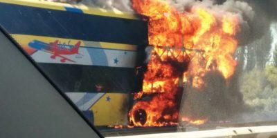 Pérdida total: incendio de bus en la Ruta 5 Sur alertó a Bomberos